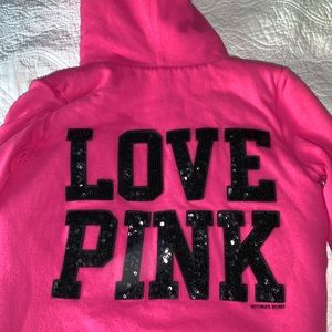 PINK Victoria's Secret Jackets & Coats - 💗EUC Furry lined PINK hoodie sequined LOVE PINK